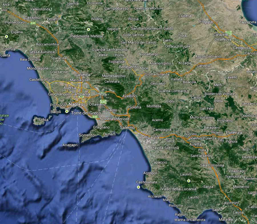 Campania South Italy Map (Kindly in use by GoogleMaps)