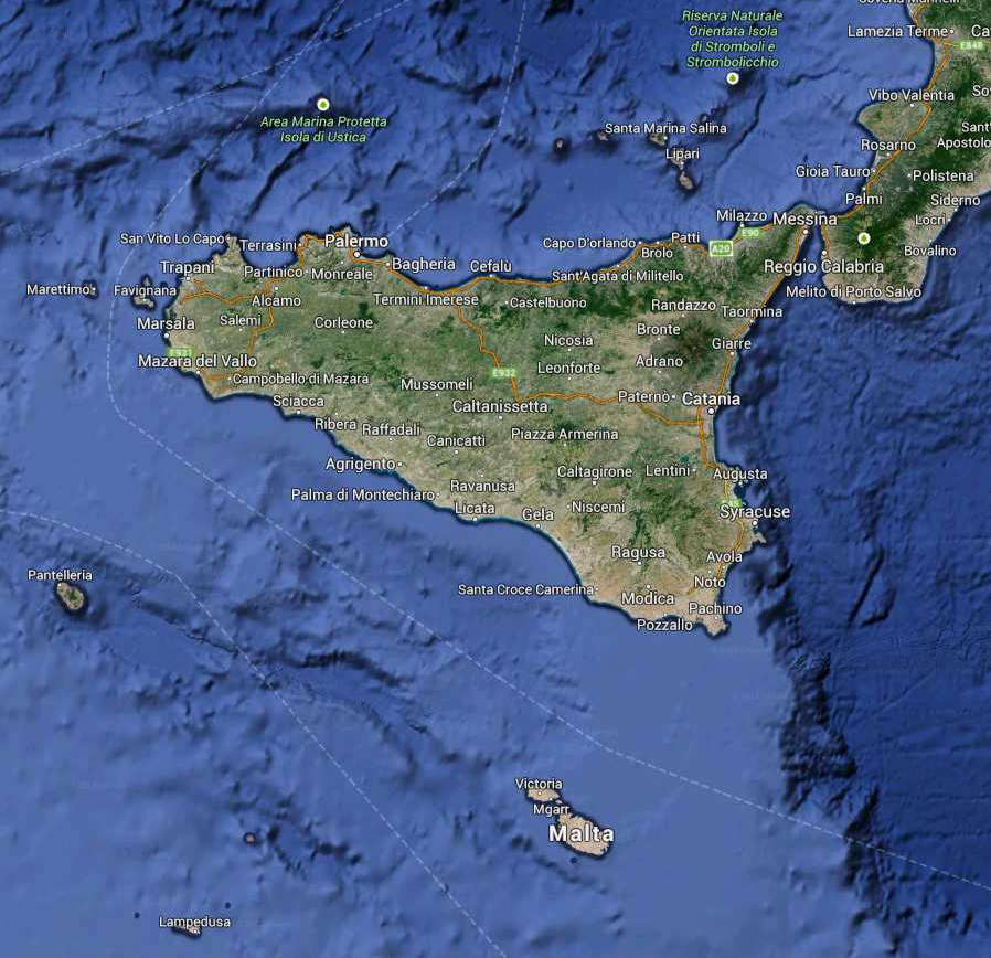 Sicily Regione South Italy Map (Kindly in use by Google Maps)